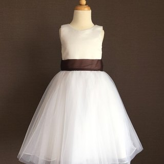 White Ball Gown Dress with Brown/Ivory Camellia Waist