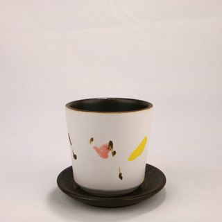 Painted fog white cup tray set