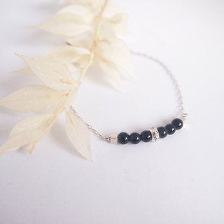 Obsidian | Blocking the suffocating six-character mantra sterling silver bracelet necklace amulet