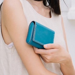 MINMIN- HANDMADE SMALL LEATHER GOODS/CARD HOLDER - TEAL/BLUE