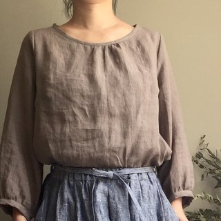 *Spring picnic** Linen small bag sleeve round neck blouse 100% Linen Only one piece of washed linen