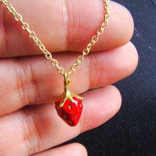 Strawberry pendant in brass and enamel color ,Rocker jewelry ,Skull jewelry,Biker jewelry