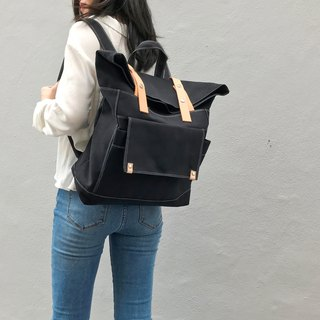 canvas Backpack , travel backpack,leather bag -NO.105 ALLISON in Black