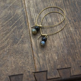 BZ 29: brass hook earrings with labradorite and onyx