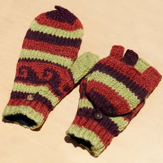 Valentine's Day gift limit a knitted pure wool warm gloves / 2ways Gloves / Toe gloves / bristles gloves / knitted gloves - Red Desert Eastern European national wind totem color waves