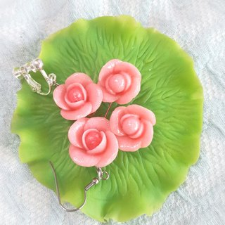 Pink rose earrings / ear hook / ear clip (large)