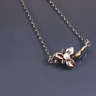 Leaf natural pearl 925 silver chain