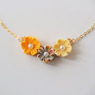 Lovely Orange and Yellow Fabric Flowers 16KGP Chain Necklace custom