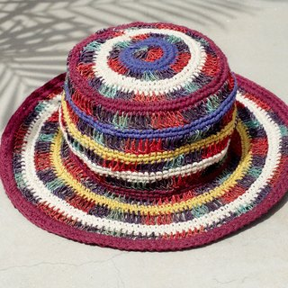 A limited edition handmade cotton cap / hat / visor / hat - rainbow gradient hollow weave
