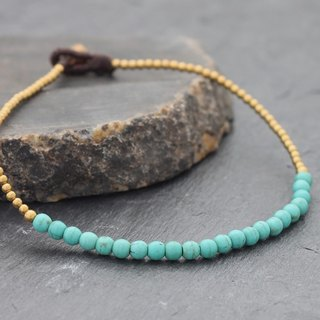 Turquoise Minimal Round Stone Anklets Beaded Brass Skinny Delicate