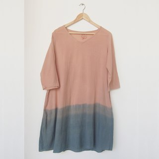 Pastel shade dress / natural dye color from bark and indigo