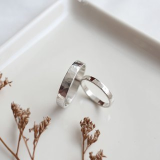 Ni.kou sterling silver water ripple couple ring