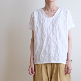 Daily hand-made suit white woven water jade small v daily short blouse linen cotton