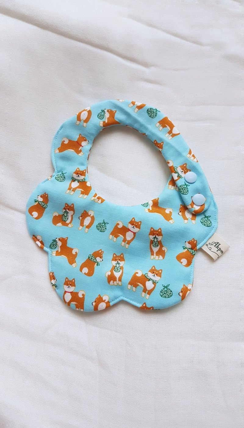 Shiba Ink - Aqua Blue - Eight Layers 100% Cotton Double Sided Bib. Saliva Towel