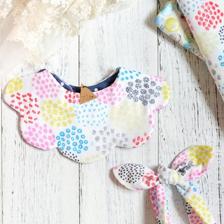 FIRE WORK BABY GIRL BIB SET
