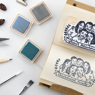 Group of 6 portrait rubber stamp (XL)