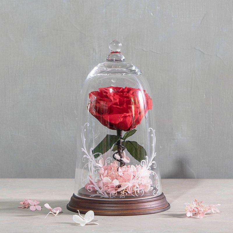 【一人成班】美女與野獸永生玫瑰玻璃花盅 附下午茶