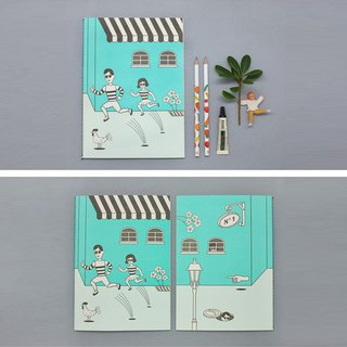 City boy girl notebook (stripe)