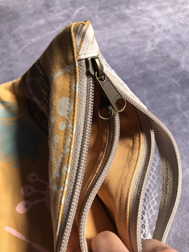 Hand-printed double zipper storage bag