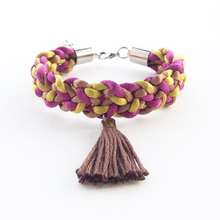 Brown-olive-purple braided bracelet with brown tassel