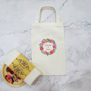 Happiness Portable Cotton Canvas Bag - Customized Wedding Accessories - Rose A