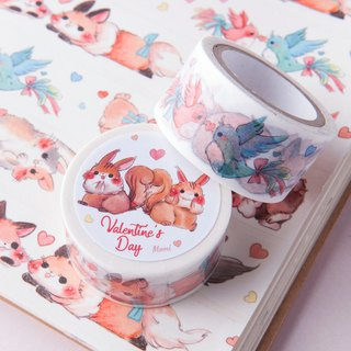 Valentine's Day animal paper tape, cat rabbit and squirrel fox