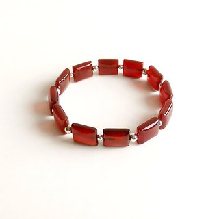 [Gemstones] small elegant natural mineral red agate 925 sterling silver bracelet