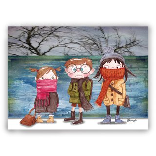 Hand-painted illustration Universal / postcards / cards / illustration card - winter