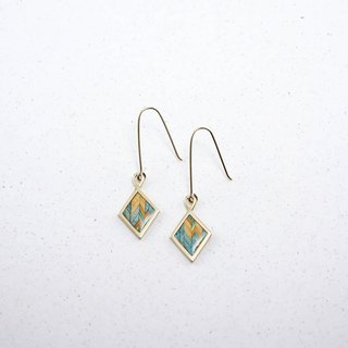 Send wood style diamond earrings / blue