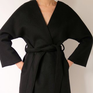 Anzi Coat Black V-Kashmir Woolen Kimono Overcoat (Other colors available)