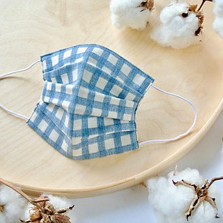Natural cotton handmade mask Gingham Navy | Reduce cloudiness of glasses