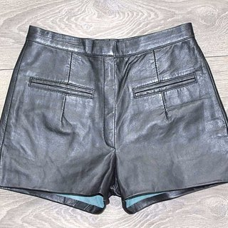 VTG Black Real Leather PARAGON Zip Fly High Waist Biker Ladies Hotpants W 26 in