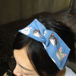 Turn the hair band (manual) - bow tie ears-Q cat blue