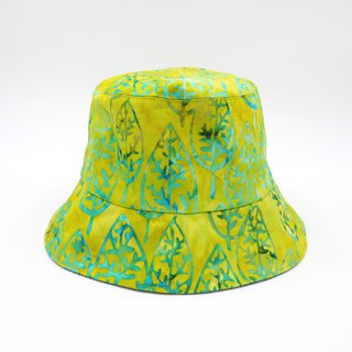 /Handmade bucket hat/ Green tie-dye leaves print reversible hat