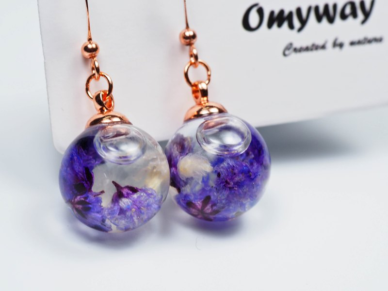 愛家作-OMYWAY日本白色毛絨花浮游玻璃球玫瑰金色耳環耳夾1.4cm