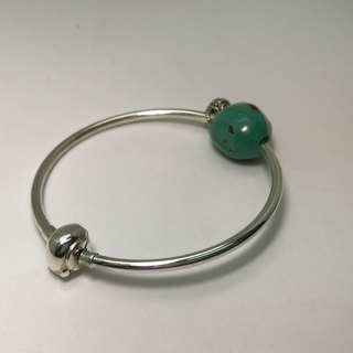 Silver Turquoise Precious Stones Bracelet Silver Bell Charm Exquisite Gift Box