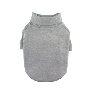 Gray THICK 1 x 1 Rib Knit Turtleneck T-shirt, Dog Apparel
