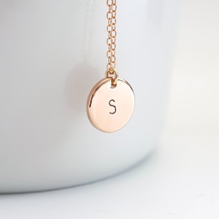 14K Rose Gold Filled Initial Plate Necklace