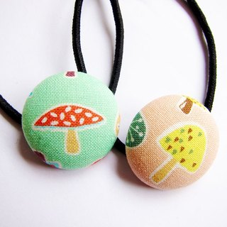 Hand-made cloth buttons tress hair ring cute mushrooms