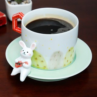 Three shallow pottery original design small rabbit grumble couple coffee cup creative hand to send friends birthday wedding gift