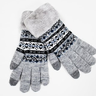 [Winter ceremony] touch knit gloves gray snowflake limited models