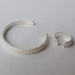 Lightup workshop - one Cuff & one ring, for child, Handmade ,999-Fine Silver