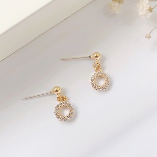 Tiny diamonds 14k gold inlaid ochre 925 sterling silver earrings handmade earrin