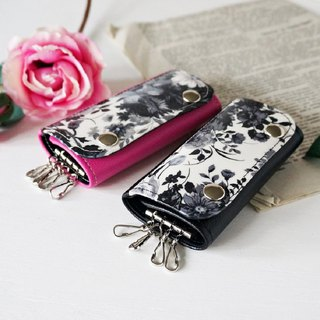 Elegant rose key case Pink&black