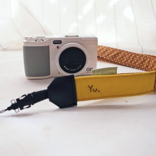 Hairmo contrast color stitching camera belt - mustard + brown dot (general hole. double small hole. single hole)
