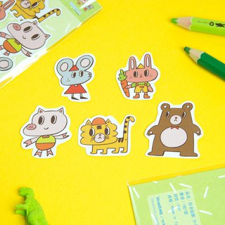Water Proof Stickers 5pcs in 1 Pack - Zoo