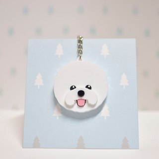 Bichon dog - key ring acrylic