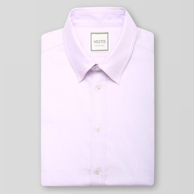 淡紫色男性商務休閒襯衫 - 合身版/歐洲進口100%純棉面料