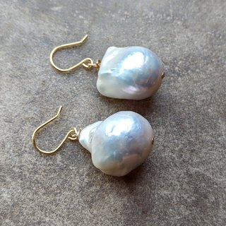Huge Natural Baroque Pearl Earrings