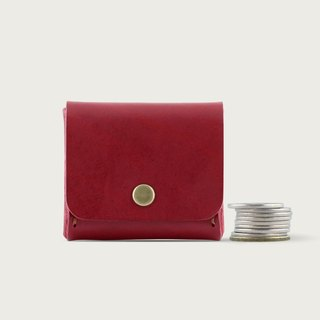 Square Coin Purse / Storage Box -- Wine Red
